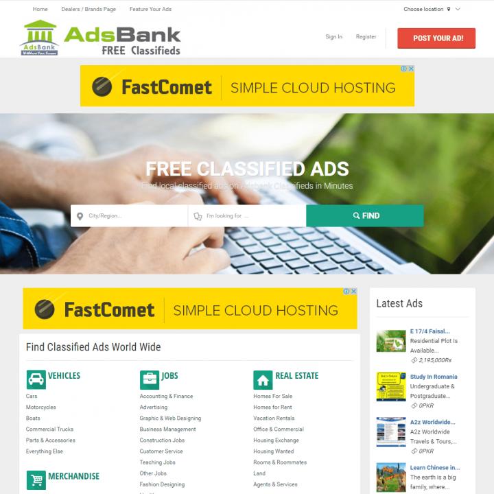 Adsbank.net – Free Classifieds developed by future technologies